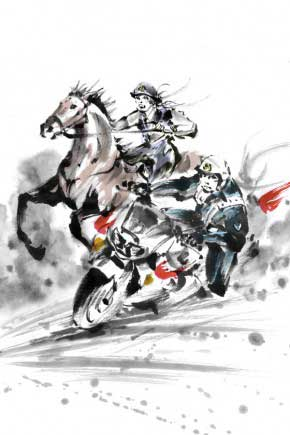 Cavalry and motorcycle